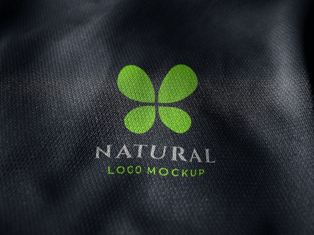 Screen printed logo mockup on fabric