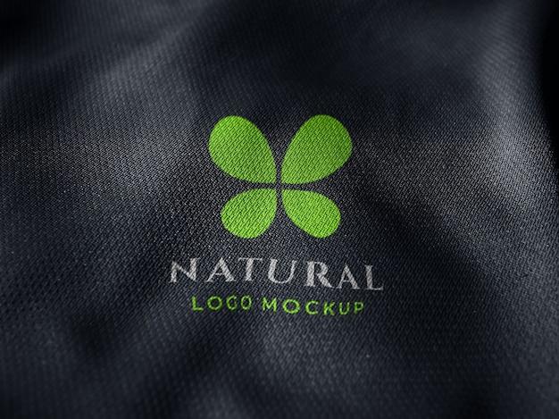 Макет логотипа с трафаретной печатью на ткани