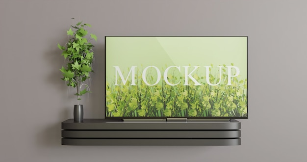 Screen tv mockup on the black wall tv desk