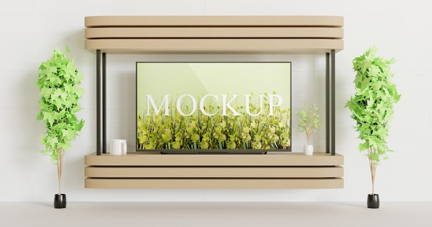 Screen tv mockup on the wall mounted wooden table