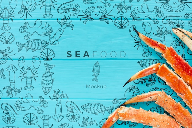 Sea food arrangement with mock-up