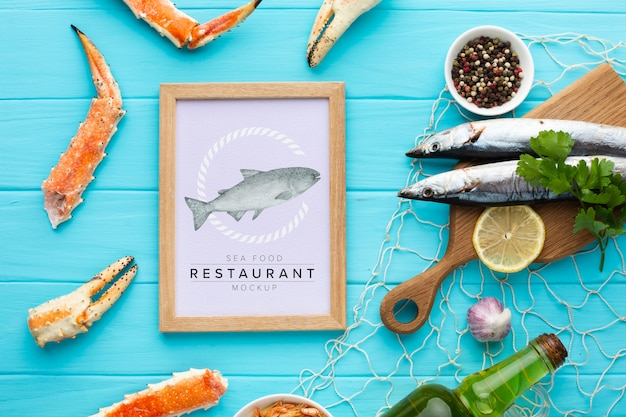 Sea food composition with frame mock-up