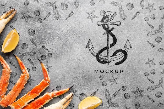 Composizione di frutti di mare con mock-up
