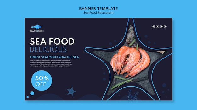 바다 음식 개념 배너 서식 파일