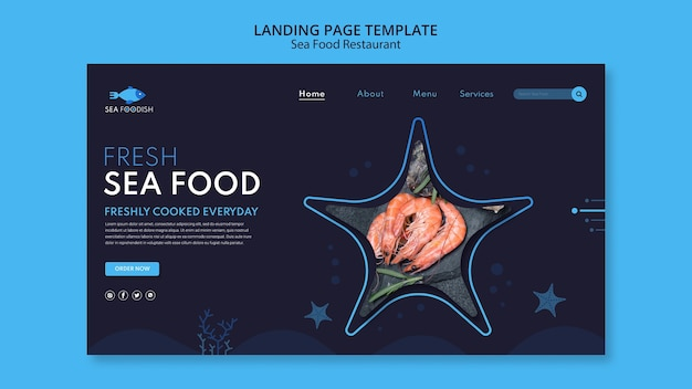 Sea food concept landing page template