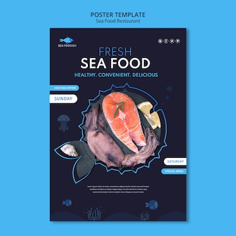Sea food concept poster template