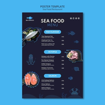 바다 음식 개념 포스터 템플릿