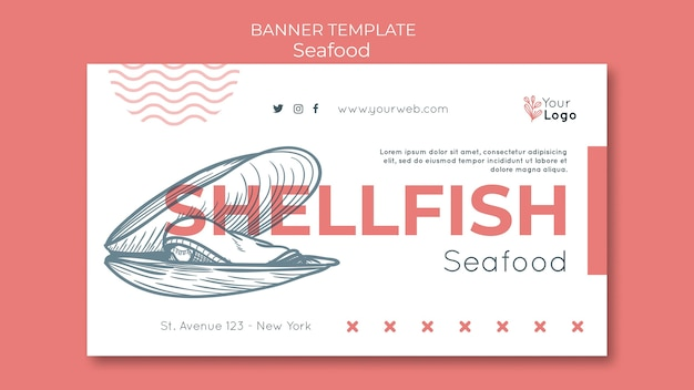 Seafood concept banner template