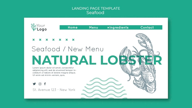 Seafood concept landing page template