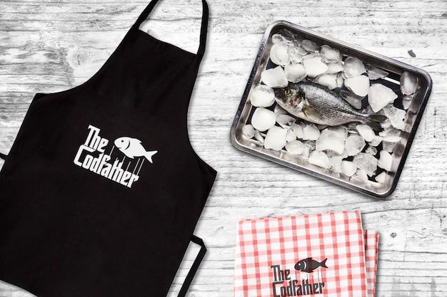 Seafood restaurant apron mockup