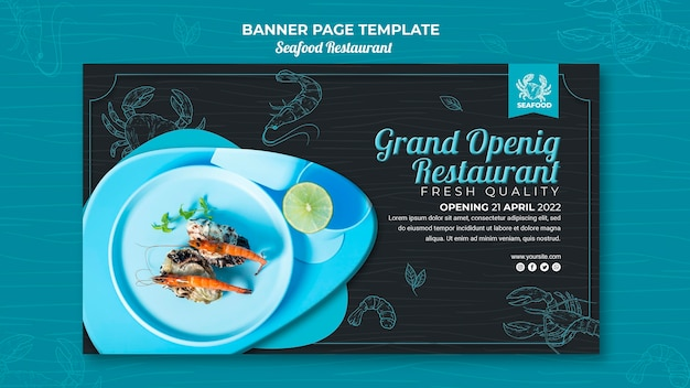 Seafood restaurant banner template