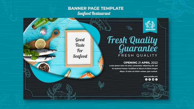 Seafood restaurant banner template Free Psd