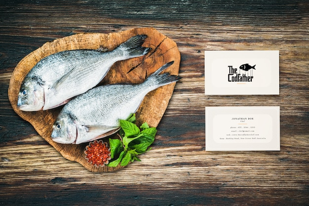 Seafood restaurant business card mockup