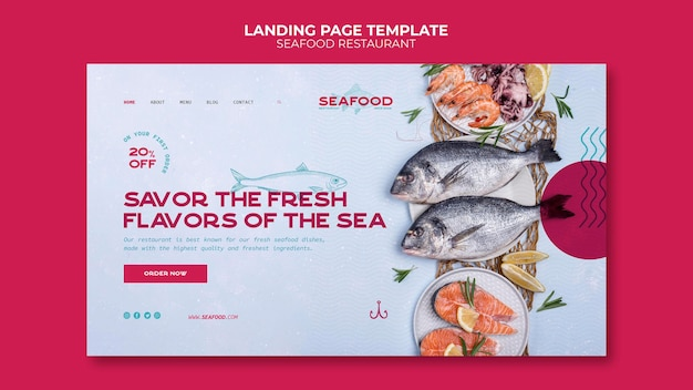 Modello di pagina di destinazione del ristorante di pesce