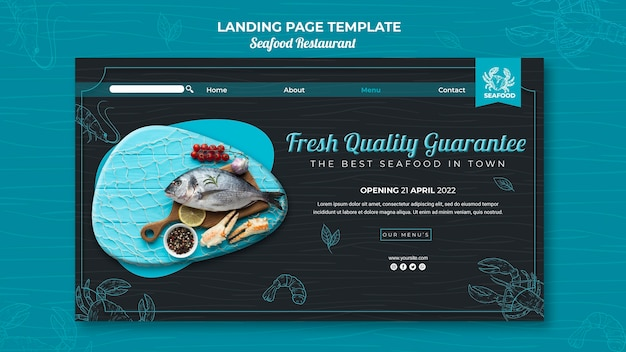 Seafood restaurant landing page web template