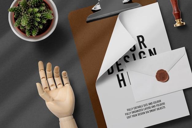 Sealed envelope and clipboard document mockup design