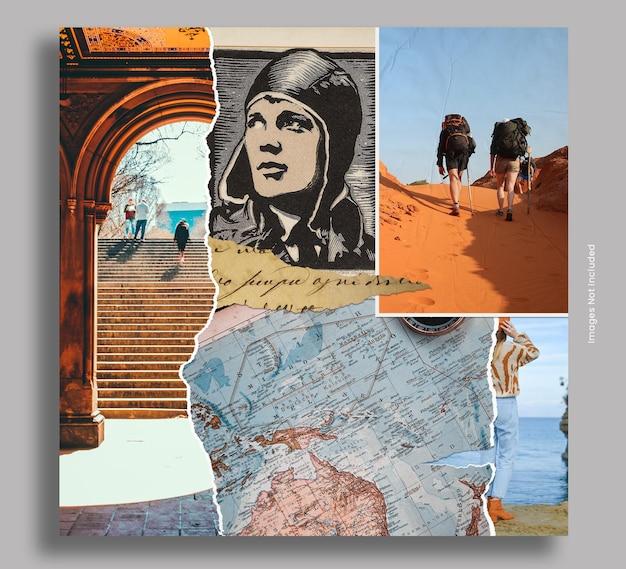 Seamless travel photo collage post