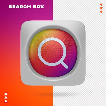 Search icon in box in 3d rendering isolated