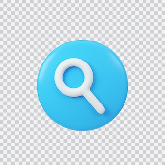 Search sign 3d render interface button isolated on white