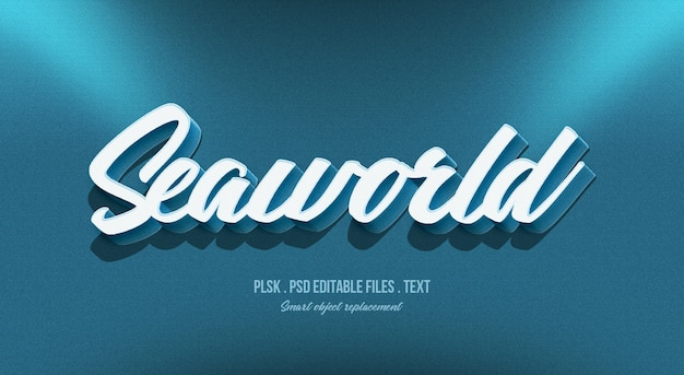Seaworld 3d text style effect mockup