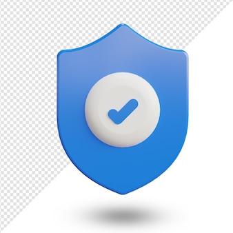 Значок безопасности или безопасности 3d визуализации