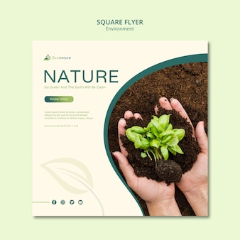 Seedling in soil square flyer template