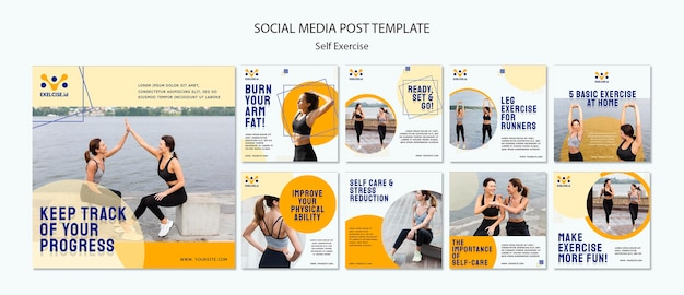Self exercise social media posts template