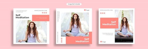 自己瞑想ソーシャルメディアバナーテンプレートまたは正方形のチラシコレクション