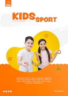 Selfie of kids sport template
