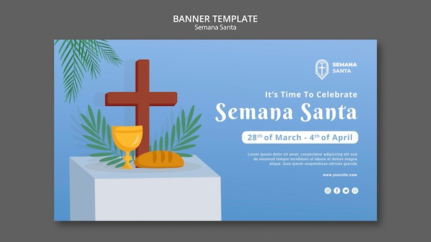 Semana santa banner template illustrated