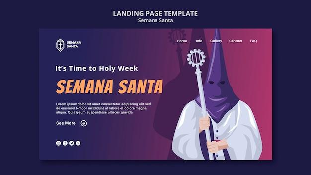 Semana santa landing page template illustrated