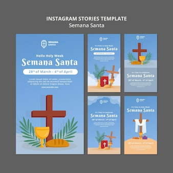 Semana santa social media stories set