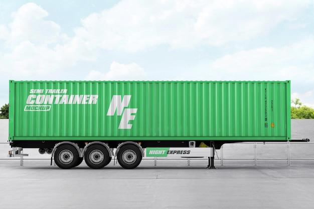 Semi trailer container mockup