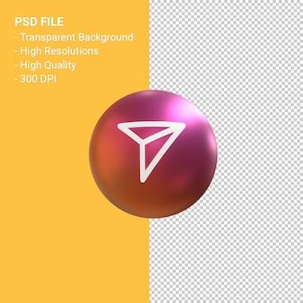 Отправить значок для instagram 3d визуализации символа воздушного шара изолированы