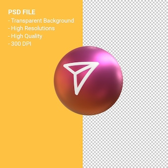 Send icon for instagram 3d balloon symbol rendering isolated