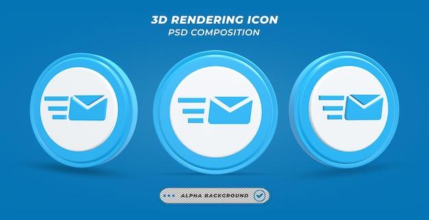 Sending mail icon in 3d rendering