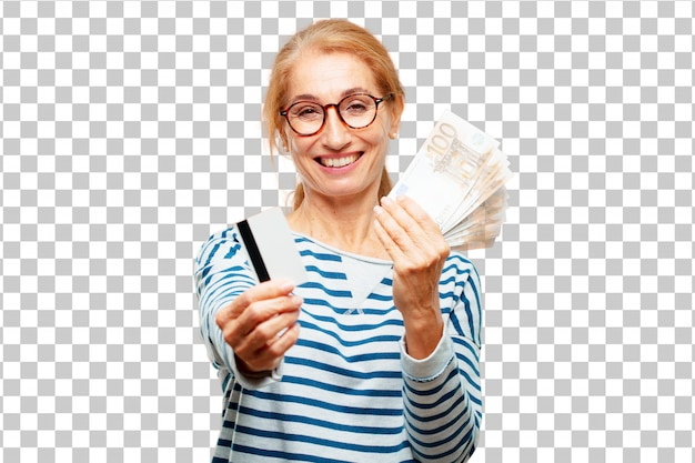 Senior beautiful woman pay, buying or money concept