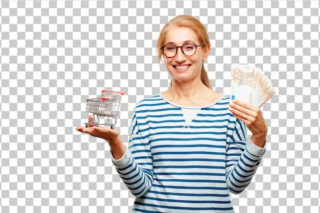 수석 아름 다운 여자 지불, 구매 또는 돈 개념