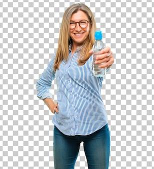 Senior beautiful woman water bottle