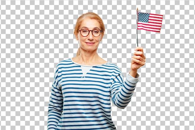 Старшая красивая женщина с флагом сша