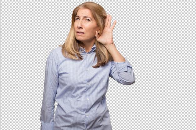 シニア美しい女性電卓