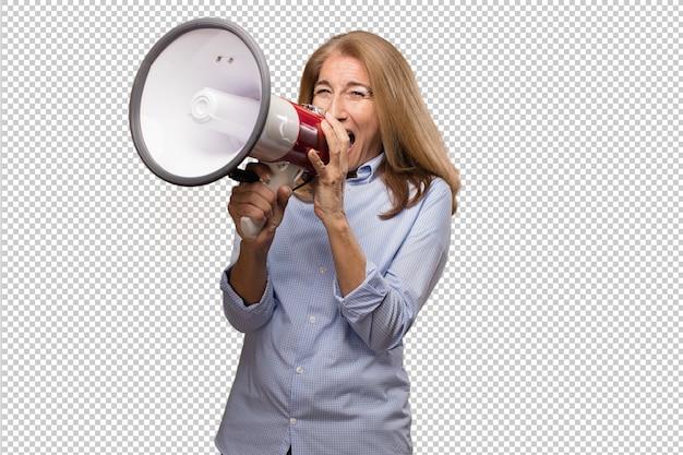 Senior beautiful woman with a camera