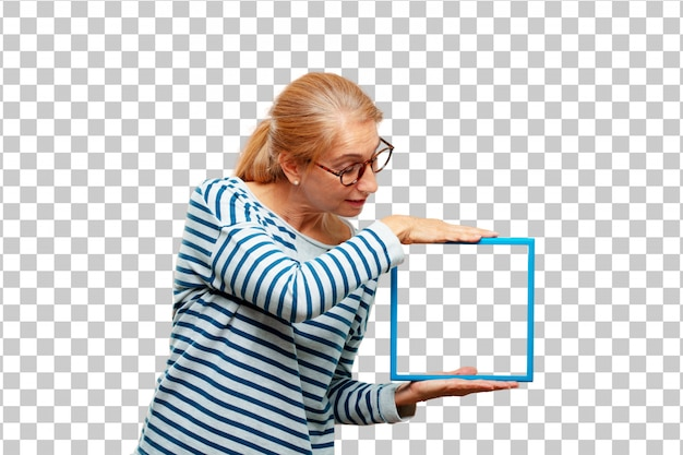 Senior beautiful woman with a frame
