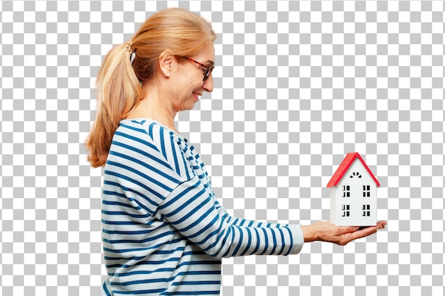 Senior beautiful woman with a house model