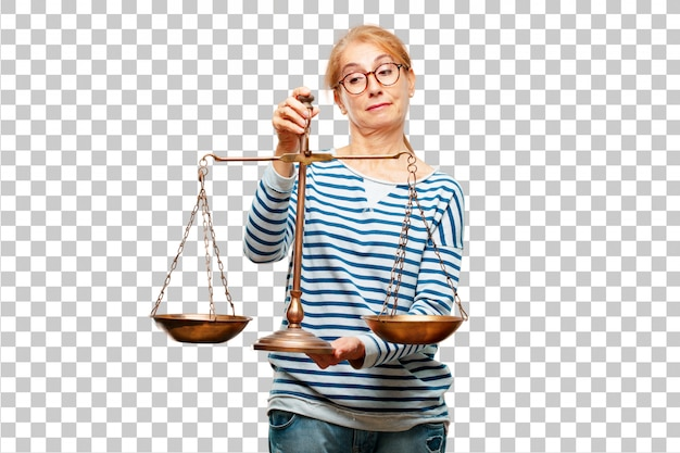 Senior beautiful woman with a justice balance or scale