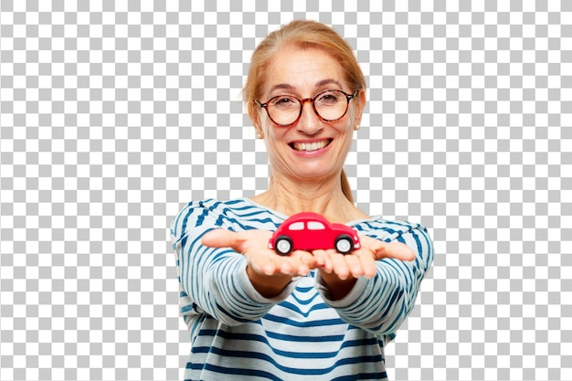 Senior beautiful woman with a red car model