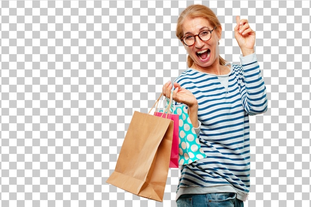 Senior beautiful woman with shopping bags