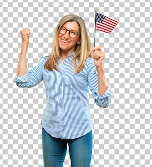 Senior beautiful woman with an usa flag