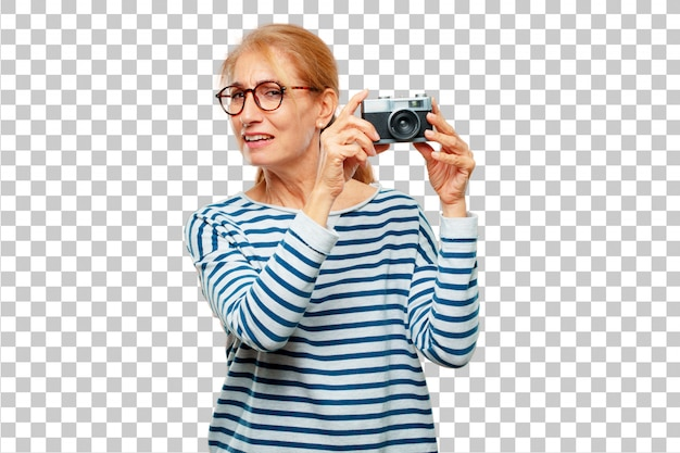 Senior beautiful woman with a vintage camera