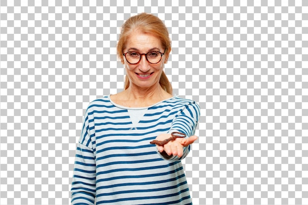 Senior beautiful woman with a vintage key